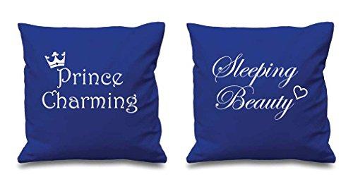 Prince Charmant la Belle au bois dormant Bleu Housses de coussin 40,6 x 40,6 cm Couples Coussins Saint-Valentin anniversaire Boyfriend Girlfriend Chambre à coucher Coussin décoratif Maison
