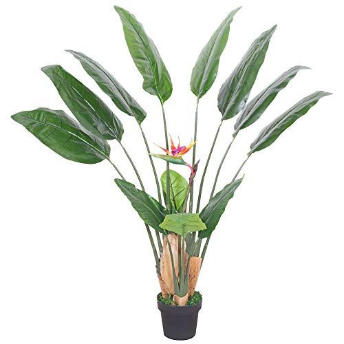 Decovego Strelitzie Strelizie Paradiesvogelblume Kunstpflanze Künstliche Pflanze mit Topf 145cm