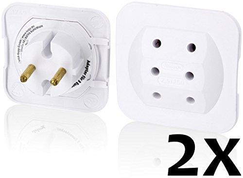 Preisvergleich Produktbild Superflacher Adapter für 3 EURO-Stecker - Marken-Qualität by Kopp