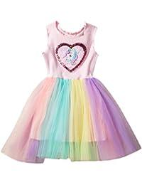 33e78cb0066 LUBITY Robe Enfant Bébé Fille Chic Amour sans Manches Volants Robe de  Paillettes Épissage Couleur Robe