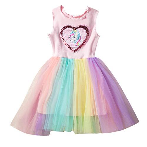 VJGOAL Mädchen Kleider, Kind Baby Süß Ärmellos Rüschen Pailletten Prinzessin Rock Nähen Farbe Netzrock Partykleid Dresses for Girl ()