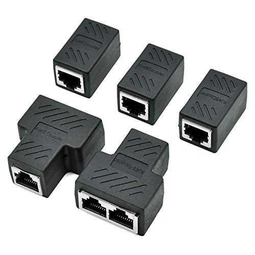 cococity 5 Stücke Splitter Adapter Buchse RJ45 Ethernet Kabel Verbinder 1 bis 2 Dual Female Port, T-Adapter Netzwerk Kabel Netzwerk Adapter geschirmte Modular Kupplung Netzwerkkoppler