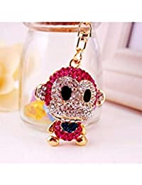 Banggood ELECTROPRIME Crystal Keyring Charm Pendant Bag Key Ring Chain Keychain Rose Red Monkey