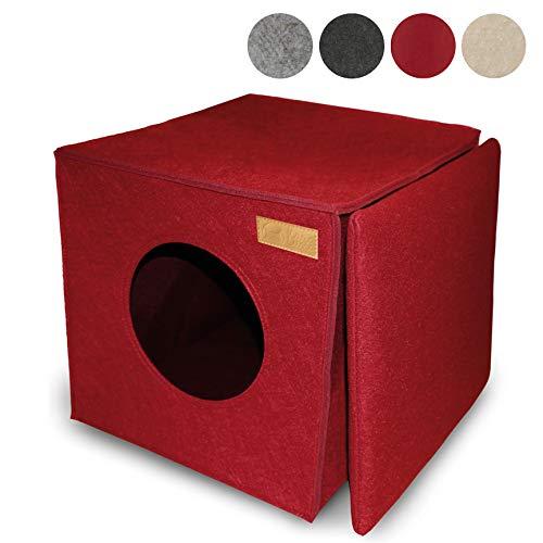 KaraLuna Katzenhöhle I Kuscheliger Rückzugsort und Katzenbett I Aus hochwertigem Filz I Passend für IKEA Kallax oder Expedit I Schlafplatz (Rot)