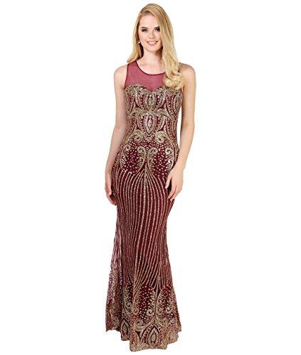 KRISP Damen Bodenlanges Abendkleid mit Glitzer Details Figurbetont, Weinrot/Gold (3067), 36, 3067-WINGLD-08