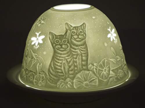 Schattierungen Von Licht Kerze (CBK-MS. Dom Light Teelicht Kätzchen Katzen Windlicht Porzellan Teelichthalter ca. Ø 12 cm Höhe 8,5 cm)