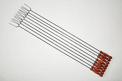 8 tolle extra grosse GRILLSPIESSE robuste Grillspieße für Picknickset Picknick-Grill Campingkocher & Campinggrills als Würstchenhalter Würstchenzange Wurstzange (Achtung kein Teleskop, sondern feste (stabile) Form aus gedrehtem Stahl) ideal für Camping, F