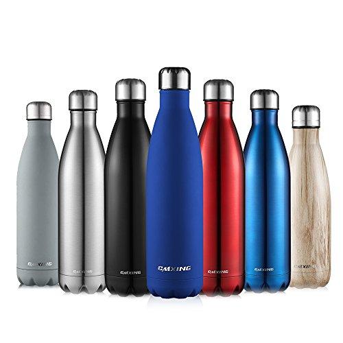 Cmxing bottiglia acqua, 500ml/ 750ml doppia parete acciaio inox sottovuoto coibentato bottiglia termica, sport borracce thermos (blu scuro, 750ml)