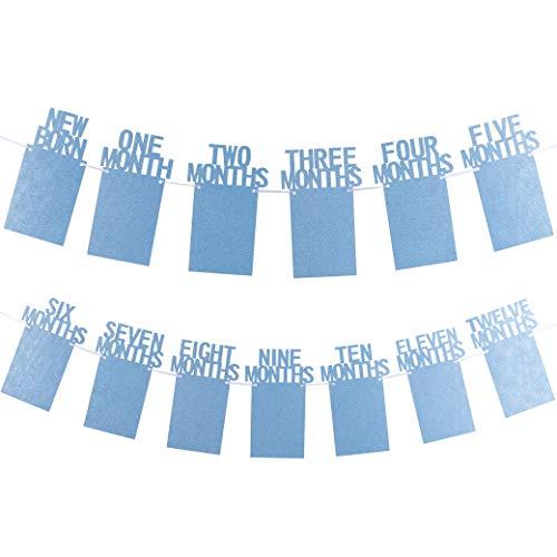Whaline Baby Ersten Geburtstag Girlande, Baby Foto Banner 1-12 Monate Foto Prop für erste heilige Kommunion, Taufe, Babydusche, Party Deko (Blau)