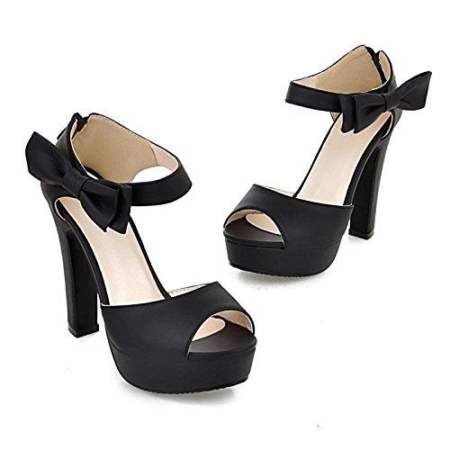 Minetom Damen Sommerschuhe Elegante Pumps High Heels Sandalen Abendschuhe  mit Bowknot Schwarz 229472a1e1
