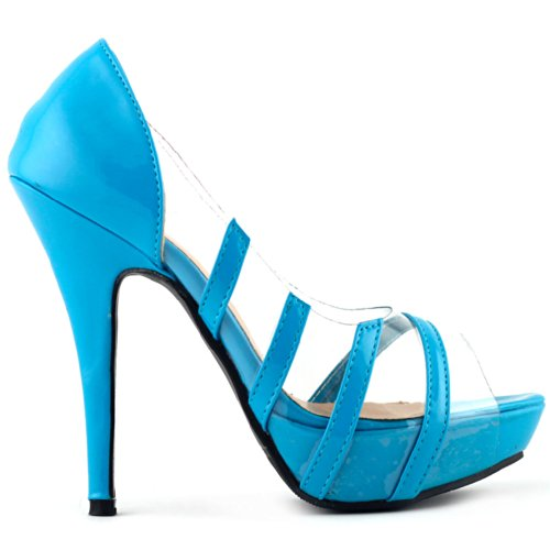Show Story , Peep-Toe femme Bleu - bleu