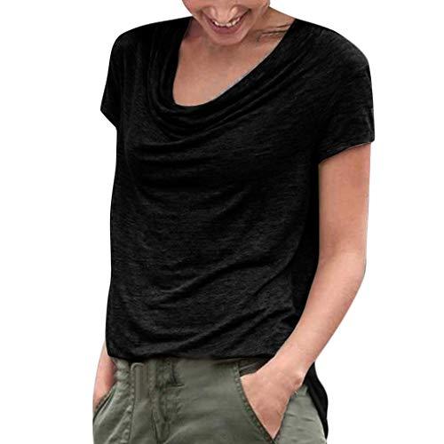 DressLksnf Damen Lässige Kurzarm Tunika T-Shirt Rundhals Kurzarm Ladies Sommer Casual Oberteil Locker Bluse Tops Solid T Shirt Halbarm Bluse Basic Tuniken Splice Tops -