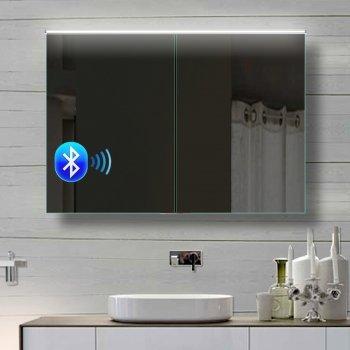 Spiegelschrank mit Lautsprecher - Alu Badezimmer Spiegelschrank mit Lautsprecher