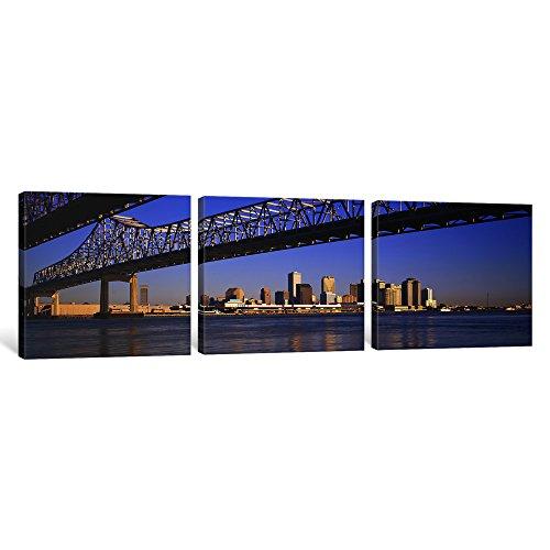 iCanvasART 3er niedrigen Winkel View Brücken EIN Fluss, Crescent City Connection Bridge, Mississippi River, New Orleans, Louisiana, USA Leinwand Kunstdruck Panorama Bilder, 1,5von 48von 40,6cm - Mississippi-brücke