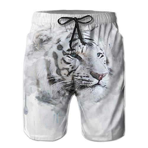 Men Swim Trunks Beach Shorts,Artistic Portrait of A White Tiger Wild Nature Predator Watercolor Splashes,Quick Dry 3D Printed Drawstring Casual Summer Surfing Board Shorts M White Beach Portrait
