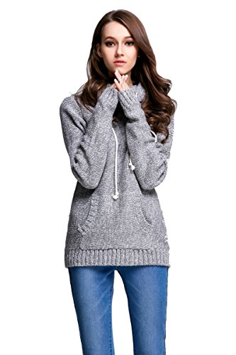 Angcoco Women's Long Sleeves Soft Hoodie Knit Top Pullover Sweatshirt Hoodie Knit Top Pullover