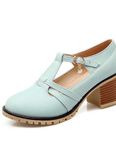 WSS 2016 Chaussures Femme-Habillé / Décontracté-Noir / Bleu / Rose / Blanc / Beige-Gros Talon-Talons / Bout Arrondi-Talons-Similicuir pink-us7.5 / eu38 / uk5.5 / cn38