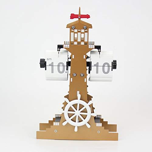 gfjfd Leuchtturm-Plattenspieler-Uhrenfarbe Ohne Wecker Gold
