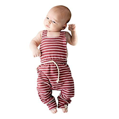 DIASTR Baby Mädchen Strampler Baby Kinder Neugeborene Säuglingsbaby Jungen Rückenfreie Gestreifte Spielanzug Overall Overall Kleidung Outfits Set (3m-3y) -