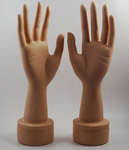 Für Handschuhe Hand-anzeige (chengyida 1Paar (links und rechts) freistehend in Lebensgröße Schaufensterpuppe Mannequin Weiblich Hand Jewelry Display (Finger beliebig gebogen))