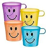 Ww Global Trading Bon Rapport Qualité Prix Idée Cadeau - Garçon Fille Garçon Fille Enfants Enfants - Pack de 4 Plastique Smiley Tasses Mugs