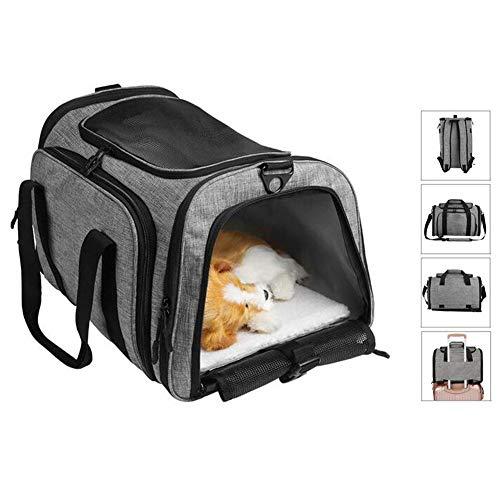 Rucksack für Katze Hund Welpen Kätzchen, Geldbörse mit Schultergurt für die Reise mit dem Zug Auto Flugzeug für kleine Haustiere (geeignet für Tiere unter 6kg)