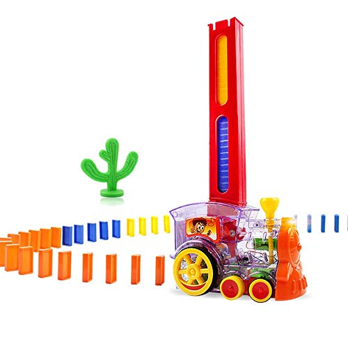 Domino Rally Train Toy Set,Stacking Toy,Rally Electric Train Model with Light and Sound, for Kids Automatic Put Out Dominoes Train.