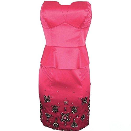 Karen-Millen-Fuchsia-Pink-Beaded-Corset-Peplum-Satin-Dress