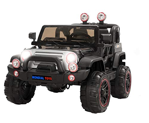 Mondial Toys AUTO ELETTRICA 12V PER BAMBINI 2 POSTI MAXI FUORISTRADA CON TELECOMANDO 2.4G SOFT START AMMORTIZZATORI FULL OPTIONAL MT-018 NERO