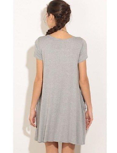 PU&PU Robe Aux femmes Ample Simple,Couleur Pleine Col Arrondi Au dessus du genou Coton / Polyester PINK-XL