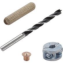 Wolfcraft 2917000 - Juego de espigas (4 marcadores, broca para madera, tope de profundidad y espigas) Ø 8 mm