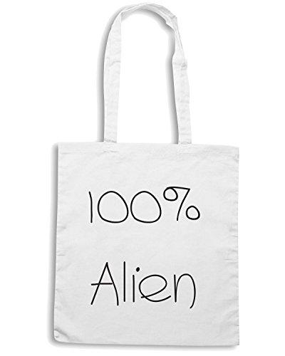 T-Shirtshock - Borsa Shopping TDM00002 100x100 alien Bianco