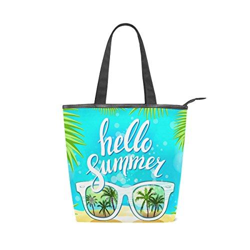 alaza Tote Leinwand Umhängetasche Hallo Sommer-Sonnenbrille Palm-Handtasche