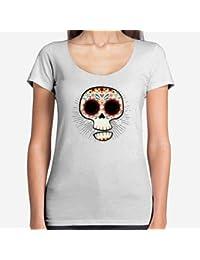 Positivos Camisetas Mujer Chica - diseño Original Calavera Mexicana  Divertida - L 76b3231144bf