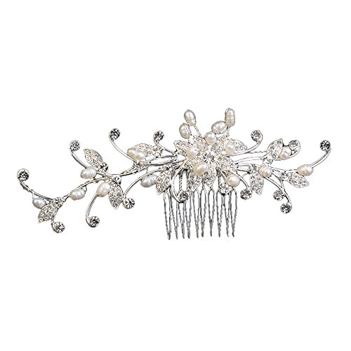 Miya® Parure de cheveux glamour de luxe Peigne à cheveux orné de jolies fleurs en perles et en cristaux Bijou de cheveux pour mariée mariage noces cérémonie d'initiation civique cocktail fête