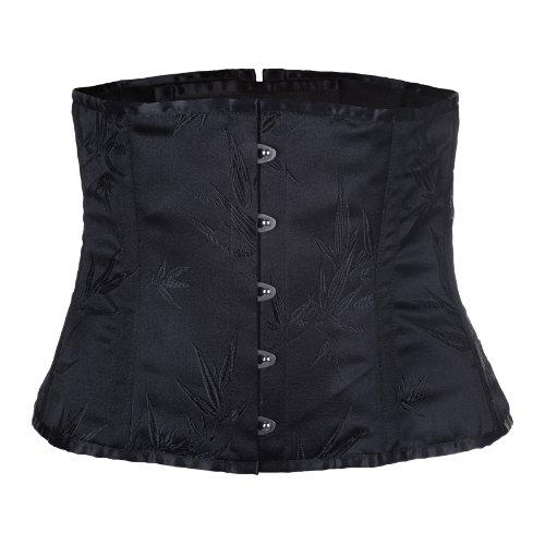 Zoelibat 53036361.008XXL Burlesque Barock Piraten Corsage mit floralem Muster Schnürung hinten, größe XXL, schwarz