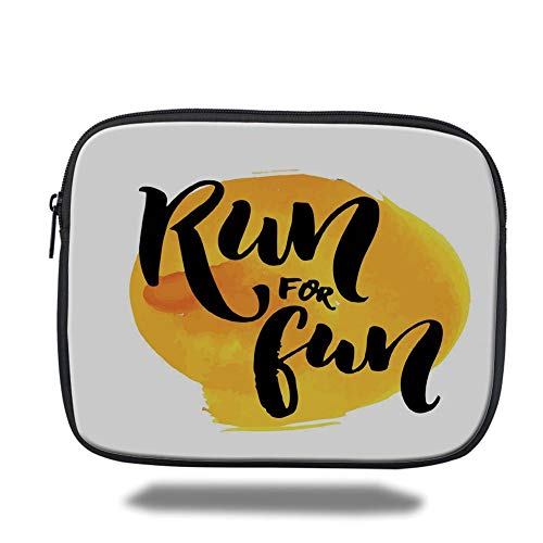 Tablet Bag for Ipad air 2/3/4/mini 9.7 inch,Inspirational,Run for Fun Calligraphy Yellow Brushstrokes Backdrop Lifestyle Image,Black White Yellow,Bag