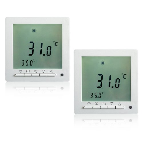 2 Stück Heizzentrale Thermostat Dispaly Digital Raumthermostat LCD Screen Fußbodenheizung programmierbar Thermostat Heating Room