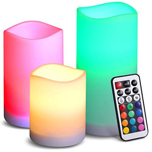 【New Deko】ORIA LED Flammenlose Kerzen, 3er Set Romantische Batteriebetriebene Kerzen mit...