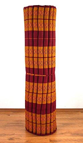 Kapok Rollmatte der Marke LivAsia®, 200cm (Länge) x 160cm (Breite) x 4,5cm (Höhe), Thailändische Rollmatte, Entspannungsmatte, Yogamatte, Pilates, Rollmatratze, Gästematratze, Gästebett (Rot / Gelb)