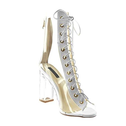 Angkorly Chaussure Mode Bottine Escarpin Montante Peep-Toe Femme Lacets Transparent Talon Haut Bloc 10 cm Blanc