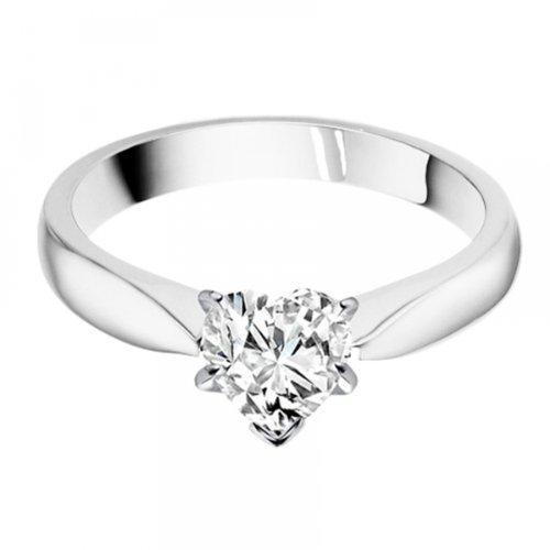 Diamond Manufacturers, Damen, Verlobungsring mit 0.25 Karat E/VVS1 feinem und zertifiziertem Herzdiamant in 18k Weißgold, Gr. 41 - 4