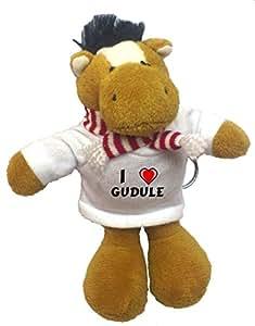 Grenouille peluche porte-clé avec J'aime Gudule (Noms/Prénoms)