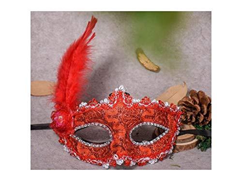 Yhcean Gruselig Halloween Venezianischen Top Hut Feder Maske -