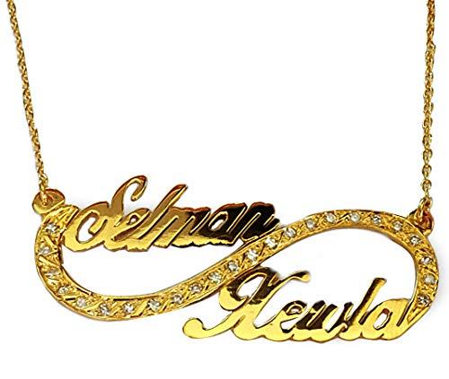 Personalisierte Infinity Kette aus 585er Gold Handarbeit, Goldanhänger Love Namenskette Goldkette mit Zirkonia Unendlichkeit Zeichen #2197