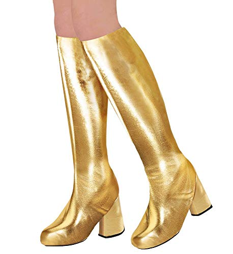 shoperama 70er Metallic Damen Stiefel Überzieher Stulpen glänzend Disco Festival Show Revue Space-Girl Kostüm-Zubehör, Farbe:Gold (Festival Girl Kostüm)