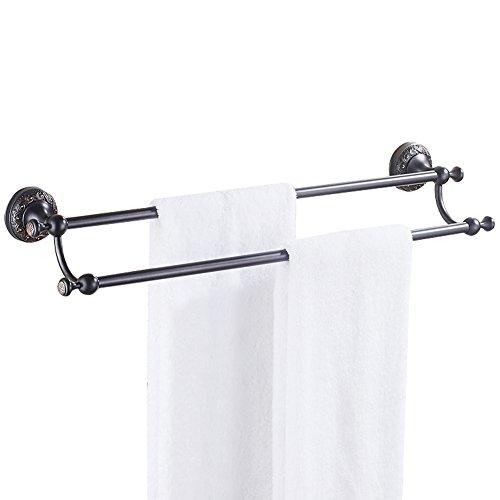 CASEWIND Schwarz Doppel Handtuchstange Handtuchhalter für Dusche Küche, besteht aus Messing Antik Öl Rubbed Bronze finished Wandmontieren Wandhalterung