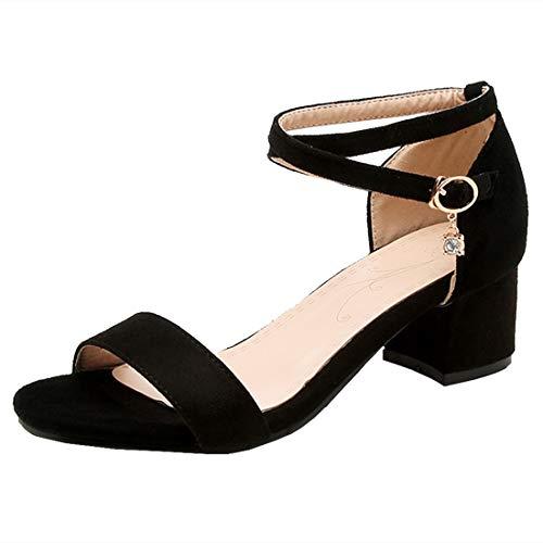 Artfaerie Glitzer Kreuzgurt Chunky Heels Sandalen mit Blockabsatz Riemchen Damen Sandaletten mit 5cm Absatz Schuhe Chunky Heel