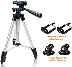 Mobile Gear 105cm Long Metal Camera Tripod For Mobiles & Action Cameras Having 3-Way Pan & Tilt (With Free Attachments)