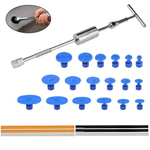 FOCCTS Paintless KFZ Dellen Reparatur-Set - Dent Puller Slide Hammer T-Typ Werkzeug mit 18 Stück Dent Removal Pulling Tabs + 6 Stück Hot Glue Sticks für Auto Körper Hagel Damage Remover -